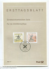 ALLEMAGNE FEDERALE RFA, 1997, FDC, MOULINS, TP 1783 1784, DOCUMENT 1° JOUR