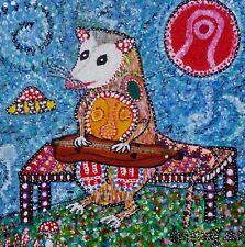 "Possum playing Mountain Dulcimer Folk Art print signed Giclee by Starroot 8x8"""