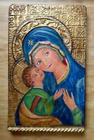 Religious Painting Mother & Child Art Icon Barcelona Spain Carved Wood Gold Leaf