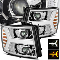 For 2007-2013 Silverado Chrome DRL/Signal LED Tube Projector Headlights Assembly