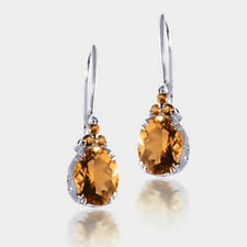 925 Sterling Silver Brazilian Citrine And Madeira Citrine Dangle Drop Earrings