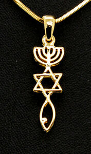 Gold Plated Grafted In Messianic Pendant Necklace ISRAEL STAR MENORAH FISH