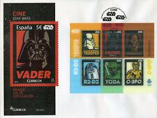 SPAIN 2017 FDC Guerra De Las Galaxias Darth Vader Yoda C3PO 1 V M/S Cubierta Sellos Lenticular