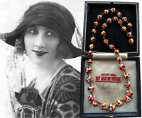VINTAGE ART DECO CZECH MILK GLASS SPATTER SPOTTED BEADS NECKLACE COLOURFUL GIFT