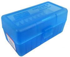 NEW MTM 50 Round Flip-Top .22-250 to 7.62 X 39 Rifle Ammo Box - Clear Blue