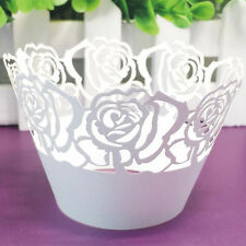 Decorations Case 12Pcs Pearly Paper Rose Design Vine Lace Cup Cake Wrappers