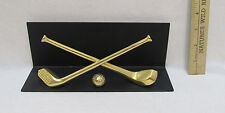 Golf Clubs Ball Metal Desktop Shelf Stand Brass Book Picture Plaque Foam Bottom