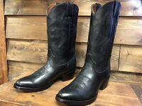 Men's  Genuine Leather Cowboy boots Round Toe Classic Black
