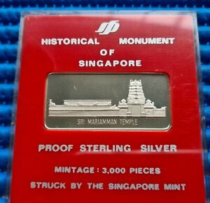 Historical Monument of Singapore Sri Mariamman Temple in Proof Sterling Silver