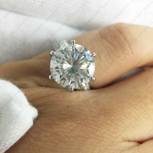 5.40 TCW Round Cut DEF Moissanite 6 Prong Engagement Ring 14k White Gold Finish