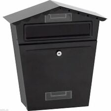 Black Steel Exterior Lockable Postbox / Letterbox