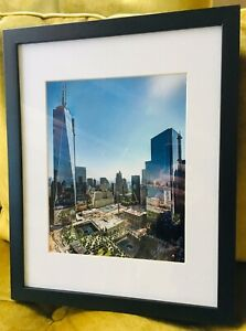 NYC NEW YORK CITY 10.5x13.5 MAT 7.5x9.5 PHOTO FREEDOM TOWER NEW WTC DECO FRAMED