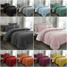 Teddy Bear Fleece Duvet Cover Set Pillow Case Sherpa Thermal Warm Soft Bedding