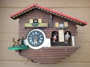 Vintage Black Forest Mechanical Cuckoo Clock German To Repair 26x23x12cm
