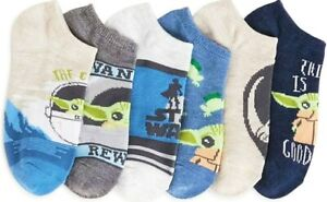 Star Wars Mandalorian Baby Yoda Boys Child Children's No Show Socks 6pk Size 3-9