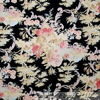 BonEful Fabric FQ Cotton Quilt Black Pink Blue Cream Flower Rose Green Tree Leaf