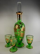 Vintage Bohemian Glass Green Decanter Set. Heavy Gold Floral Pattern.