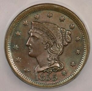 1855 Braided Hair Large Cent ICG MS62 BN Upright 5's Flashy and lustrous!