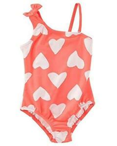 Osh Kosh Toddler Girls Coral One-Piece Heart Print Swimsuit Size 5T