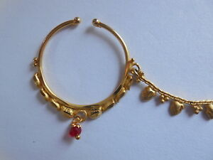Bridal Indian Nose Nath with Chain Traditional Ring Gold Plated Non Piercing