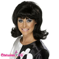 Ladies 60s Flick Up Wig Black Short Wigs Smiffys 1960s 70s Costume Accessories