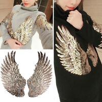 Handmade Patches Iron-On Angel Wings Decor Applique Embroidered Patch Gold