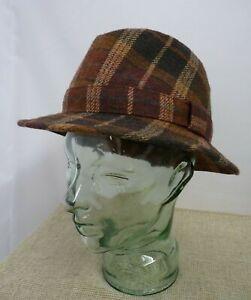 Ladies Austin Reed Brown/Red 100% Wool Tweed Hat - Medium size | Thames Hospice