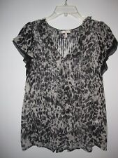 WOW~ ANTHROPOLOGIE JOIE sz S BLACK WHITE CHEETAH SMUDGE SHEER SILK BLOUSE SHIRT