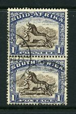 South Africa 1933 KGV 1/- vertical pair SG 62 used.