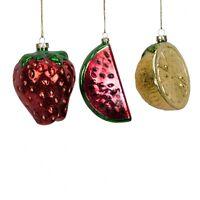 Widdop Bingham Set of 3 Glass Fruit Baubles - Novelty Christmas Tree Decorations