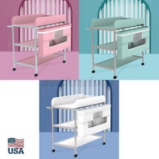 Us Baby Changing Care Table Infant Nursery Diaper Station Organizer W/ Basket °