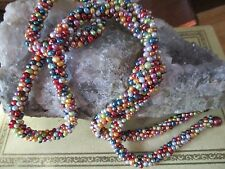 37 Inch Gorgeous Handmade Colored Pearl Woven Rope Lariat/Bolo Tie Necklace.