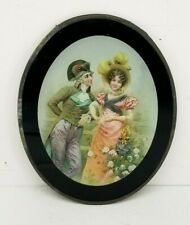 Vintage Flue Cover Oval Victorian Couple Leaning On Fence 8.5' x 10-5/8""