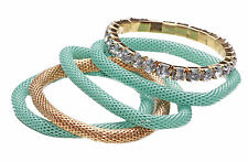 Divertido Set De 5 Flexible mint/gold Cuerda Pulseras Grandes Strass Blancos (Cl27)