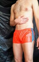 RIPSTOP NYLON HIPSTER SHORTS IN NEON ORANGE WITH TURQUOISE TRIM (S)