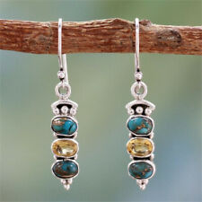 Vintage 925 Silver Taiyin Turquoise Earrings Champagne Long Eardrop A Pair/Set