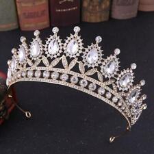 Gold cz clear Crystal Tiara Crown Wedding Bridal Headwear Birthday Prom Pageant