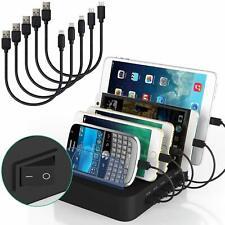 5 Ports Charging Station w/ USB Cables 5V 40W Multiple USB Charger Station Black