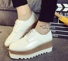 Fashion Womens Casual Platform Lace Up Pu Leather Wedge Heels Creeper Shoes Size