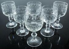 Antik 6 Gläser Geblasenes Graviert Klar ACID Rillen Venetian Griechisch Baccarat