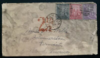 1884 Wellington Cape Of Good Hope Cover To Dummerston VT USA