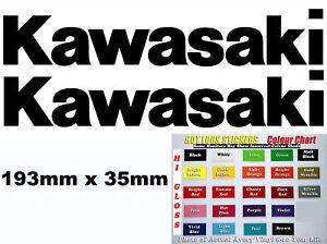 Kawasaki Tank swing Arm pair of vinyl cut sticker decals 193mm x 35mm