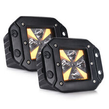 2Pcs LED Light Pods Amber Turn Signals 12W 1920LM Work Light for Offroad Truck