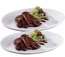 Set Of 2 Pure White 31cm Oval Dinner Plates Steak Rib Plates Porcelain Plates