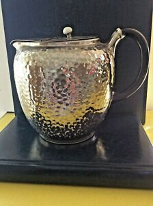 "Arthur Wood silver lustre jug 1930s Stands 13cm tall ""Olde Pewter"" Original lid"