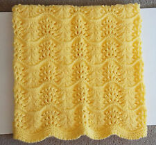 NEW Handmade Soft Knit YELLOW Crochet BABY Afghan Blanket Knitted HONEY BEE