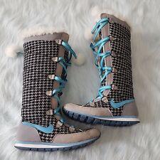Women's Nike Winter Hi 3 Premium Size 7.5 Boot Gray Blue Black Houndstooth Print
