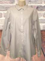 L.L.Bean Women's Blouse Plus Sz 1X (?) Pinstripe Button Down Shirt