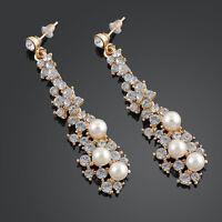 Luxury Bride Rhinestone Imitation Pearl Long Earrings Women Dangle Gold Jewelry