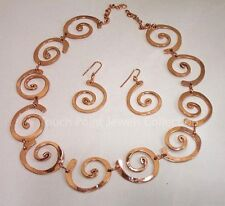 "Handcrafted  ""Swirl"" Necklace and Earrings, Pure Copper"